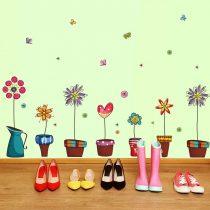 Sticker perete flori din poveşti în ghivece