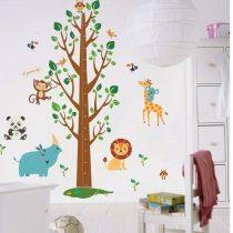 Sticker perete pentru măsurarea înălţimii cu animalele junglei