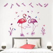 Stciker perete lacul flamingilor