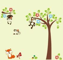 Sticker perete copacul maimuţelor