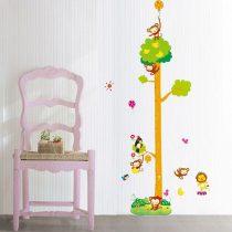 Sticker perete pentru măsurarea înălţimii cu un copac înalt cu maimuţe