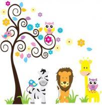 Leul şi zebra lângă copacul bufniţelor