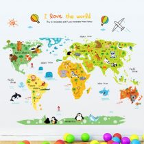 Sticker perete cu hartă - călătorie în jurul lumii