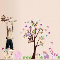 Sticker perete copac vesel, cu flori, elefant, girafă, hipopotam, zebră, maimuţe
