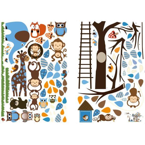 Sticker de perete cu copacul animalelor de la grădina zoologică