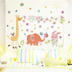 Sticker de perete cu petrecere în grădină cu animale