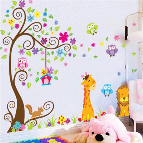 Sticker de perete cu grădina colorată a animalelor
