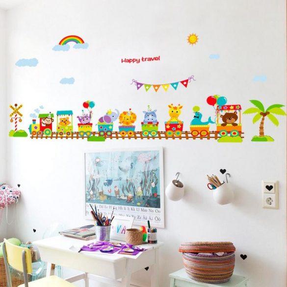 Sticker de perete cu tren cu animale