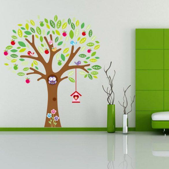 Sticker de perete cu măr și bufniţe