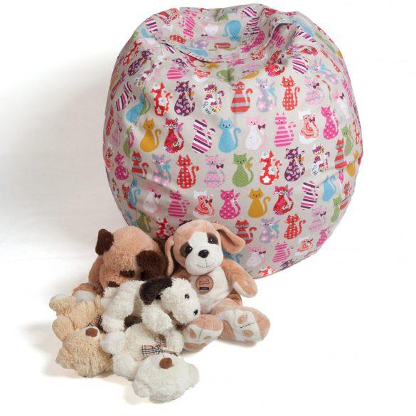 Fotoliu Bean Bag cu suport pentru pluș - Pisici colorate - MAXI