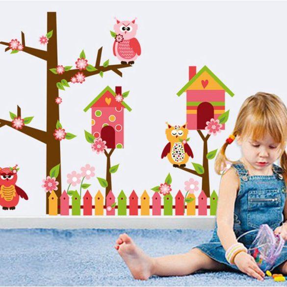 Sticker perete grădina bufniţelor