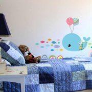 Sticker de perete balena cu baloane