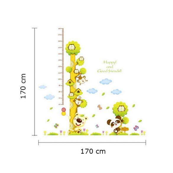 Sticker perete pentru măsurarea înălţimii cu copacul bufniţelor, maimuţelor şi ursuleţilor