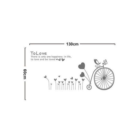 Sticker perete bicicletă pe câmpia inimioarelor