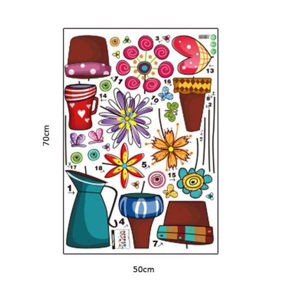 Sticker cu flori de basm în ghiveci