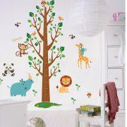 Sticker de perete pentru măsurarea înălţimii cu animalele junglei