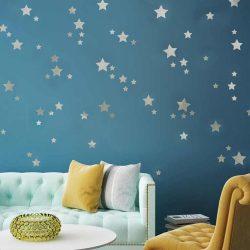 Sticker de perete cu cerul înstelat argintiu