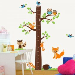 Sticker de perete măsurător de înălțime cu bufniţe, veveriţe şi alte animale din pădure
