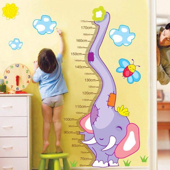 Sticker perete pentru măsurarea înălţimii cu elefant