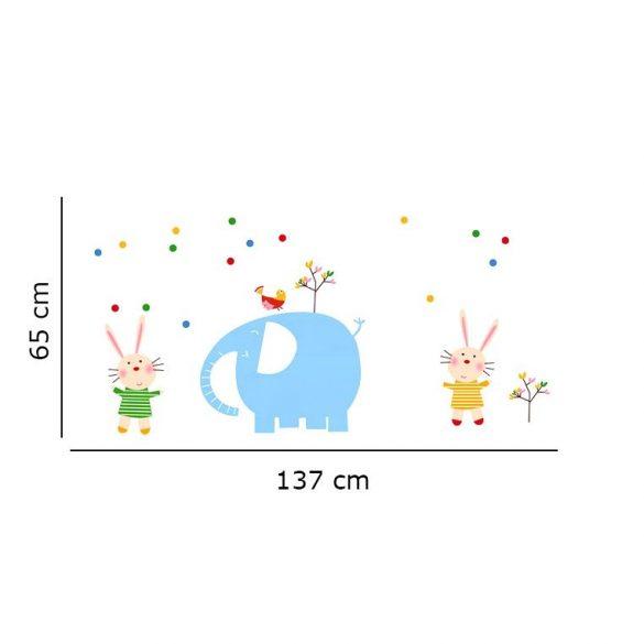 Sticker perete elefant şi iepuraşi