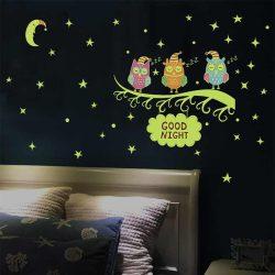 Sticker de perete cu bufnițe fluorescente