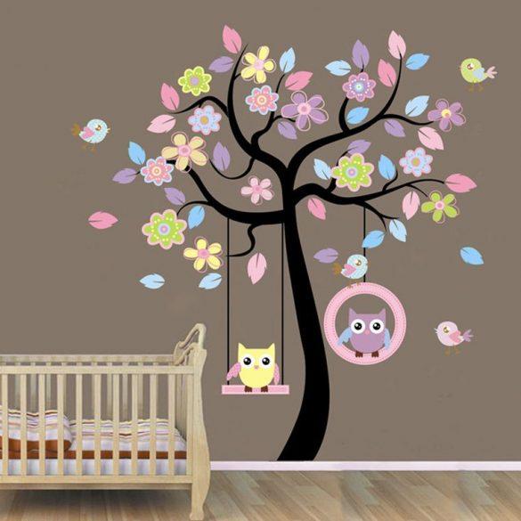 Sticker perete bufniţe care se leagănă în copac