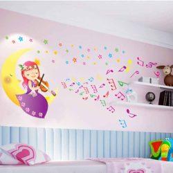 Sticker de perete cu zâna lună cântând la vioară