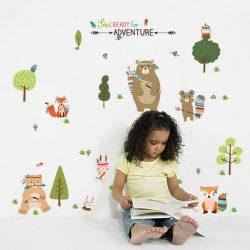 Sticker de perete cu indieni în pădure