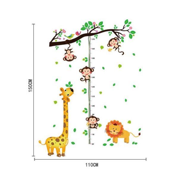 Maimuțe jucăușe pe liană – sticker de perete pentru măsurarea înălțimii