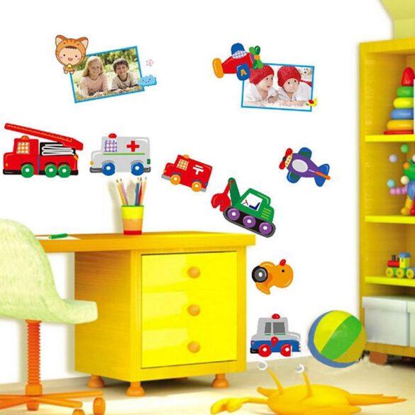 Sticker perete vehicule, maşini de lucru şi avioane