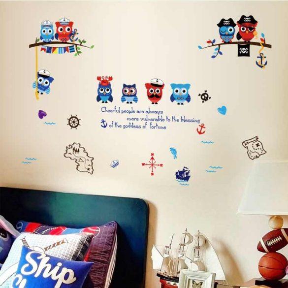 Sticker de perete bufnițe pirat
