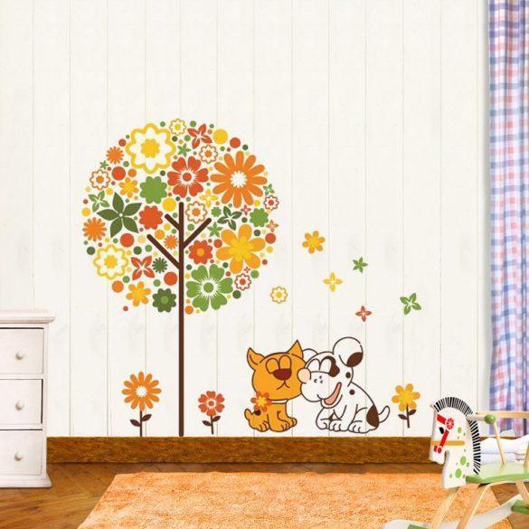 Sticker perete prietenia dintre câine şi pisică