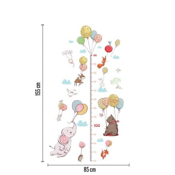 Măsurător de înălțime cu elefant micuț cu baloane de culoare pastel