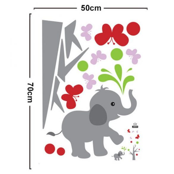 Sticker de perete cu elefant mic şi fluturi