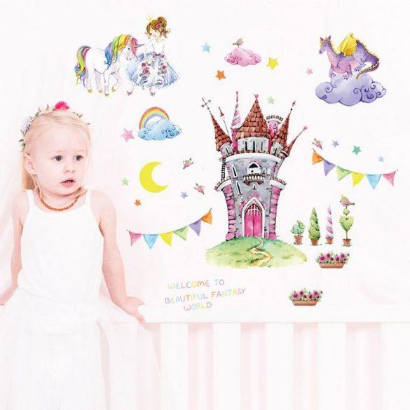 Sticker de perete cu castel cu balaur și unicorn
