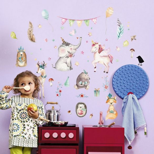 Sticker de perete cu elefant și unicorn