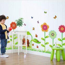 Sticker de perete câmp de flori ai gândacii mici