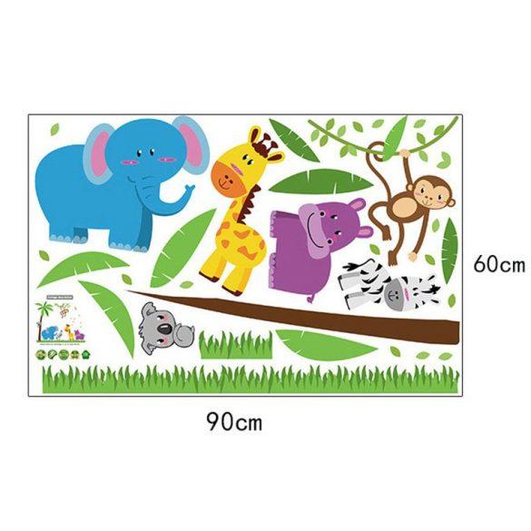 Sticker de perete cu animale zâmbitoare în junglă