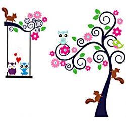 Sticker perete cu copacul veveriţelor şi bufniţelor