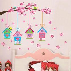 Sticker perete hrănitoare pentru păsări pe o creangă de cireş