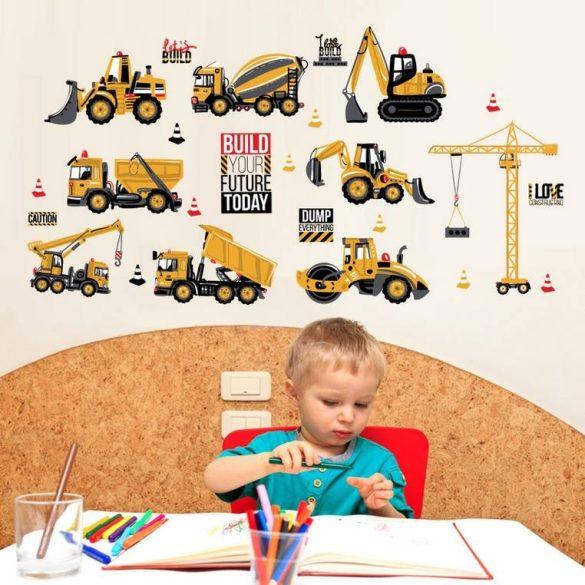 Sticker de perete cu utilaje pentru construcții pe șantier