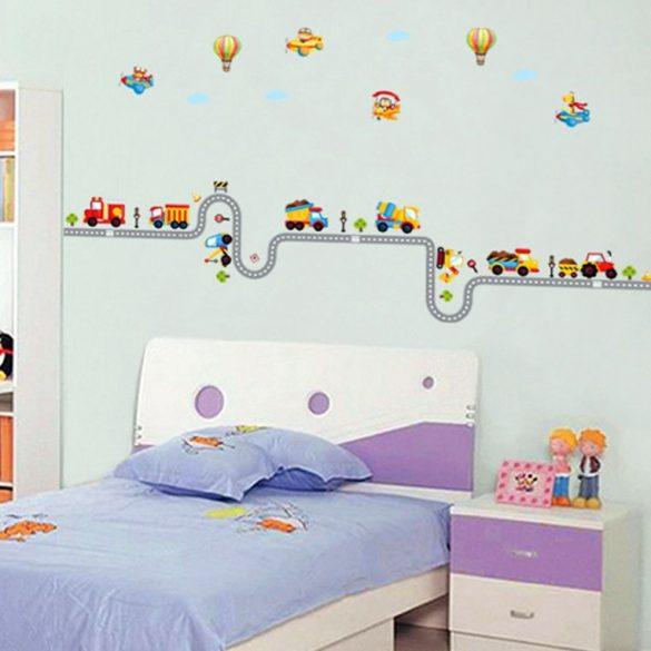 Sticker de perete cu maşini de lucru și balon cu aer cald