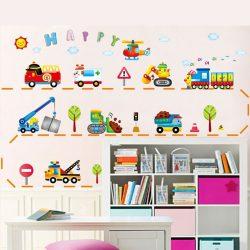 Sticker perete maşini de lucru zâmbitoare, maşini care fac tino-nino