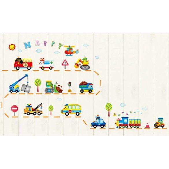 Sticker de perete cu maşini de lucru zâmbitoare, maşini care fac tino-nino