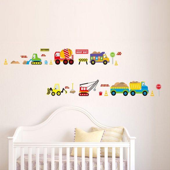 Sticker de perete excavator, camion, buldozer