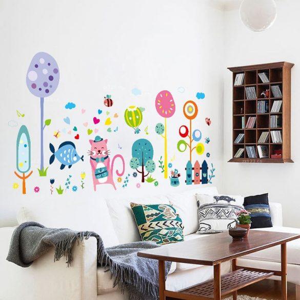 Domnul Motan în grădină – sticker de perete