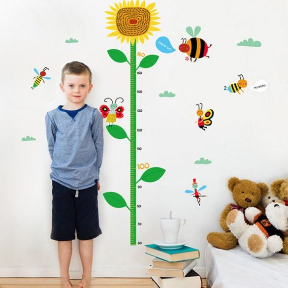 Stickerul de perete cu floarea soarelui și cu albinuță pentru măsurarea înălțimii