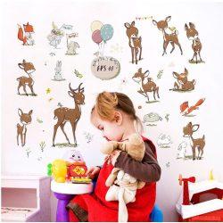 Sticker de perete cu căprioare, iepurași și vulpi