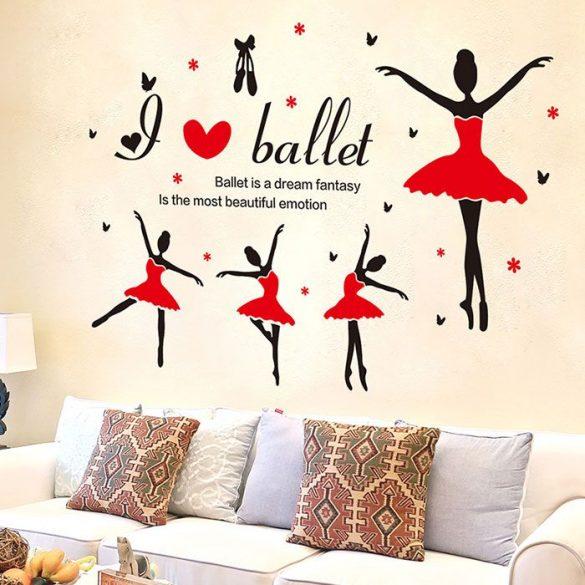Sticker perete cu balerine îmbrăcate în roşu