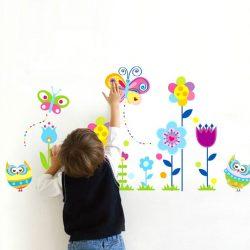 Sticker perete cu fluturi, flori şi bufniţe